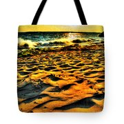 0008 Windy Waves Sunset Rays Tote Bag