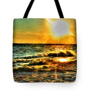 0009 Windy Waves Sunset Rays Tote Bag