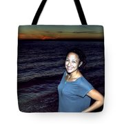 003 A Sunset With Eyes That Smile Soothing Sounds Of Waves For Miles Portrait Series Tote Bag