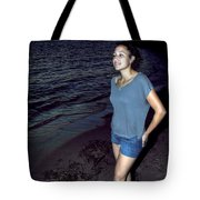 004 A Sunset With Eyes That Smile Soothing Sounds Of Waves For Miles Portrait Series Tote Bag