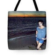 006 A Sunset With Eyes That Smile Soothing Sounds Of Waves For Miles Portrait Series Tote Bag