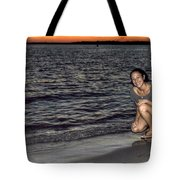009 A Sunset With Eyes That Smile Soothing Sounds Of Waves For Miles Portrait Series Tote Bag