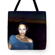 016 A Sunset With Eyes That Smile Soothing Sounds Of Waves For Miles Portrait Series Tote Bag
