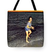 017 A Sunset With Eyes That Smile Soothing Sounds Of Waves For Miles Portrait Series Tote Bag