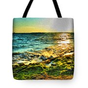 00013 Windy Waves Sunset Rays Tote Bag