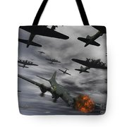 A B-17 Flying Fortress Is Set Ablaze Tote Bag