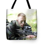 A British Soldier Armed With A Sa80 Tote Bag