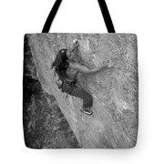 A Caucasian Women Rock Climbing Tote Bag