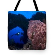 A Diver Looks On At A Giant Barrel Tote Bag