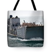 A Landing Craft Utility Transits Tote Bag