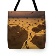 A Mixed Herd Of Dinosaurs Migrate Tote Bag