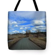 A Road View In Wildlife Refuge Tote Bag