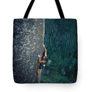 A Rock Climber In Montanas Hyalite Tote Bag