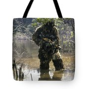 A Sniper Dressed In A Ghillie Suit Tote Bag