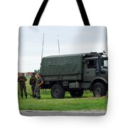 A Unimog Vehicle Of The Belgian Army Tote Bag