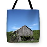 Abandoned Old Farm Building With Blue Sky Tote Bag