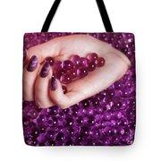 Abstract Woman Hand With Purple Nail Polish Tote Bag