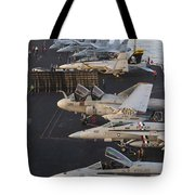 Aircraft Parked On The Flight Deck Tote Bag