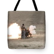 An Afghan Police Studen Fires Tote Bag