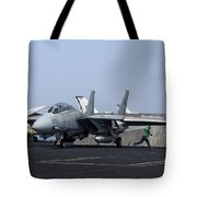 An F-14d Tomcat In Launch Position Tote Bag