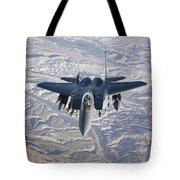 An F-15e Strike Eagle Soars Tote Bag