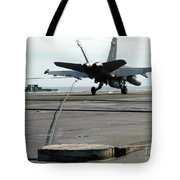 An Fa-18c Hornet Makes An Arrested Tote Bag