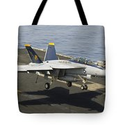 An Fa-18e Super Hornet Trap Landing Tote Bag