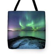 Aurora Borealis Over Vagsfjorden Tote Bag