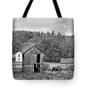 Autumn Farm Monochrome Tote Bag by Steve Harrington