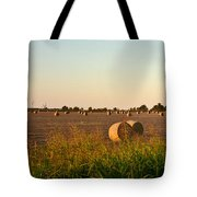 Bales In Peanut Field 2 Tote Bag by Douglas Barnett