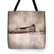 Barn In Snow Tote Bag