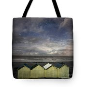 Beach Huts Under A Stormy Sky Vintage-look. Normandy. France Tote Bag