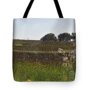 Beautiful California Vineyard Framed With Flowers Tote Bag