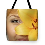 Beautiful Young Woman With A Yellow Lily Tote Bag