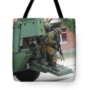 Belgian Infantry Soldiers Exit Tote Bag by Luc De Jaeger
