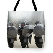 Belgian Infantry Soldiers Training Tote Bag by Luc De Jaeger