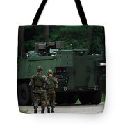 Belgian Infantry Soldiers Walk Tote Bag by Luc De Jaeger