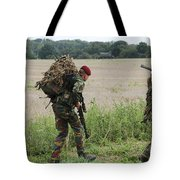 Belgian Paratroopers Red Berets Tote Bag by Luc De Jaeger