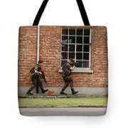 Belgian Soldiers On Patrol Tote Bag by Luc De Jaeger