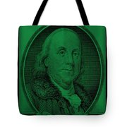Ben Franklin In Dark Green Tote Bag