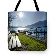 Bench In Backlight Tote Bag