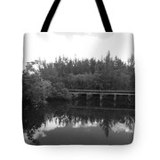 Big Sky On The North Fork River In Black And White Tote Bag