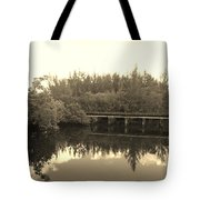 Big Sky On The North Fork River In Sepia Tote Bag