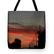 Blazing Red Country Road Sunset Tote Bag