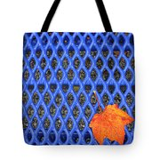 Blue Bench And Autumn Leaves Tote Bag