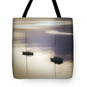 Boats In Mist Tote Bag