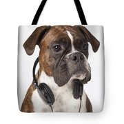 Boxer Dog With Headphones Tote Bag
