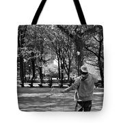 Bubble Boy Of Central Park In Black And White Tote Bag