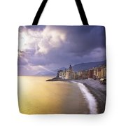Buildings Along The Coast At Sunset Tote Bag