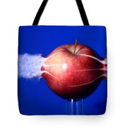 Bullet Hitting An Apple Tote Bag